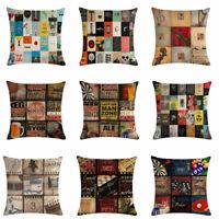 Retro Recreation Cotton Linen Pillow Case Waist Throw Cushion Cover Home Decor