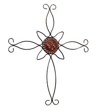 "Wall Hanging Metal Cross with Sun Design- 30 7/8""H"