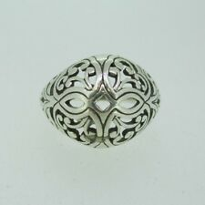 Vintage Sterling Silver Lacey Filigree Dome Ring Size 6 1/2