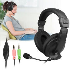 Wired Gaming Stereo Earphone Headset Headphone w/ Mic For PC Tablet Laptop Phone