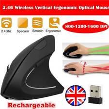 Wireless Rechargeable Vertical USB Mouse Ergonomic Optical 1600 DPI PC Laptop UK