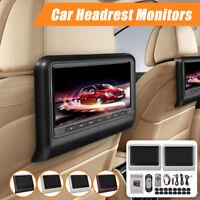 2x 9''Inch Car Headrest DVD+AV Player Monitors USB/SD/HDMI/FM/Games LCD Touch