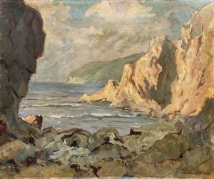 Rocky Coast Beach Sea Impressionist Max Nowakowsky (1887-1959)