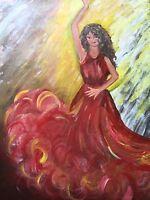 Gipsy girl dancing painting