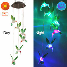 New listing Solar Color Changing Led Hummingbird Wind Chimes Christmas Garden Light Lamp