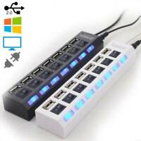 7-Port USB 2.0 Multi Hub & High Speed Adapter ON/OFF Switch for Laptop PC Mouse@