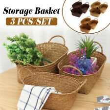 3pcs Seaweed Woven Storage Basket Fruit Sundries Home Organizer Container Bin