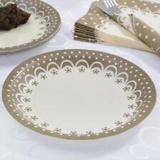 "8 x Gold 9"" Paper Plates Wedding Anniversary Party Tableware Supplies Ladies"