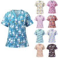Women Short Sleeve Tunic T Shirt V Neck Loose Easter Tops Blouse Working Uniform