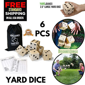 Giant Wooden Yard Dice Outdoor Lawn Family Game Large 2.5'' Inches Carrying Case