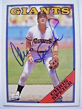 CHRIS SPEIER signed GIANTS CUBS 1988 Topps baseball card AUTO Autographed TWINS