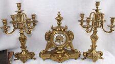 French Vintage Bronze clock candelabras eagle / lion paw unusual set FHS movemen