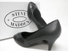 $79+STEVE MADDEN*BANGORR*BLACK LEATHER SZ  7.5 SLINGBACK HEEL* HTF