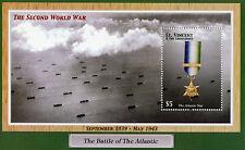 St Vincent & Grenadines 2003 MNH Battle Atlantic Star WWII 1v S/S Medals Stamps