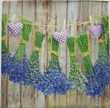 LAVENDER GARDEN HERBS 2 individual LUNCH SIZE paper napkins for decoupage 3-ply