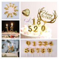 Gold Number 0-9 Happy Birthday Cake Candles Topper Decoration Party Supplies New