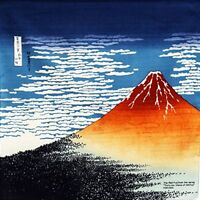 FUROSHIKI Japanese Wrapping Cloth Ukiyoe Hokusai Red Mt.Fuji 50cm Made in Japan