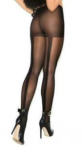 Lace Back Seam Pantyhose Woven Sheer Textured Nylons Hosiery Black 1134