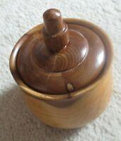 Vintage Yew wood lidded pot