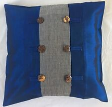 Pair of 'FORTUNE - Blue' Cushion Covers, 100% Thai Silk