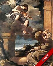 ST FRANCIS & ANGEL PLAYING MUSIC PAINTING BIBLE CHRISTIAN ART REAL CANVAS PRINT