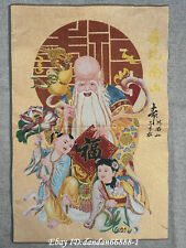 "24""Tibet Buddhism Cloth Silk god of longevity Longlife Thangka Embroidery Mural"