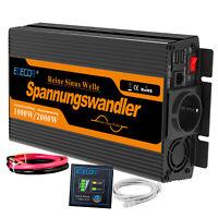 Convertisseur 1000W 2000W DC 12V à AC 220V pur sinus Onduleur 2 Ports USB