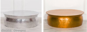 Modern Large Gold Or Silver Hammered Aluminium Round Drum Lounge Coffee Table