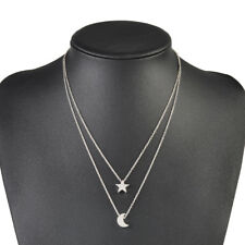 Elegant Star Crescent Moon Gold Silver Plated Chain Necklace Women Jewelry Gift
