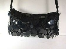 Suzy Smith - Small Black Shoulder bag - Crochet with Large Sequins. Evening bag.