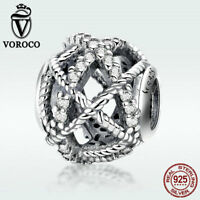 Voroco 925 Sterling Silver Bead Twine Charm CZ For Bracelet Necklace New Jewelry