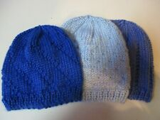 PREEMIE 5-7 lbs BABY HATS. Set of 3. Hand knitted .  3 Shades of BLUE