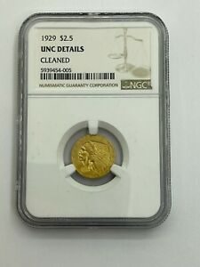 1929 $2.5 Liberty Head Quarter Eagle Gold Coin  - NGC UNC Details