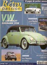 RETRO PASSION 104 VOLKSWAGEN COCCINELLE CABRIOLET KARMANN FIAT 124 SPORT SPIDER
