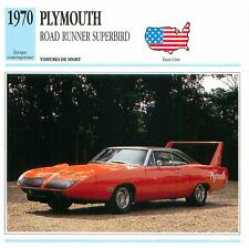 Plymouth Road Runner Superbird V8 Sport  1970 USA CAR VOITURE CARTE CARD FICHE