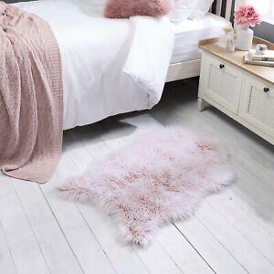 Anja Helsinki Faux Fur Frosted Tip Sheepskin Pink Rug 60cm by 90cm