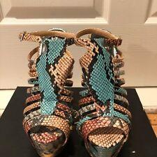 shoedazzle lacka womens 6 inch platform faux snake skin high heel casual size 7