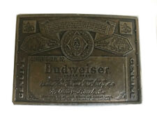 Vtg Budweiser Belt Buckle King of Beer Label Alcohol Drinker Men's Funny Brass