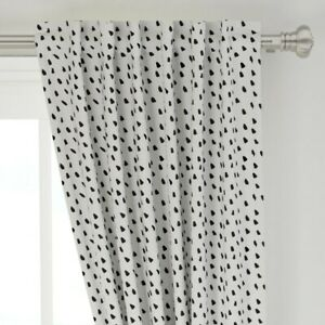 """Modern Black And White Dots Abstract Spots 50"""" Wide Curtain Panel by Roostery"""