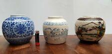 Lot of 3 Chinese Old Ginger Jar Jars