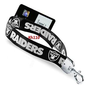 NFL Oakland Raiders Wristlet Lanyard Keychain-Black