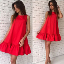 Womens Ladies Casual Sleeveless Summer Beach Bodycon Party Skater Short Dress