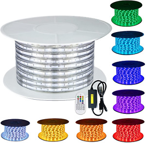 110V GuoTonG 8 Colors RGB Dimmable Strip Light Outdoor 131.2ft 40m Rope Lighting