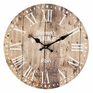 Wall Clock Braun 13 3/8in Shabby Chic Cottage Brocade