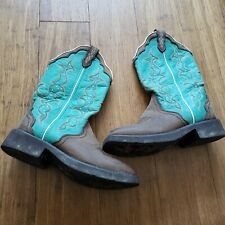 Justin Gypsy Womens 6.5B Raya Brown Turquoise Western Cowboy Boots Leather L2904