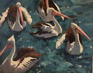 'PELICAN PARTY' Original Oil Painting by Award Winning Artist ROS PSAKIS