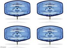 """4x 12v 9.5"""" Jumbo Oval Blue ABS Spot Lamp + LED Van 4x4 L200 Ranger"""