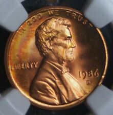 1986-D Memorial Cent - NGC MS64 RB - Rainbow toned