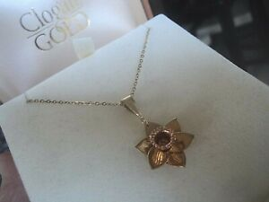 Clogau Welsh 9ct Gold Daffodil Pendant & Chain  -  9ct Yellow & Rose Gold