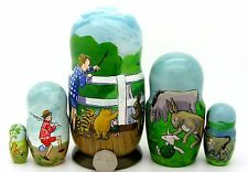 Russian 5 nesting dolls original illustrations Winnie the Pooh Piglet Eeyore
